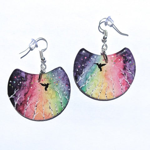 """Rainbow Hummingbird"" Earrings PRINT"