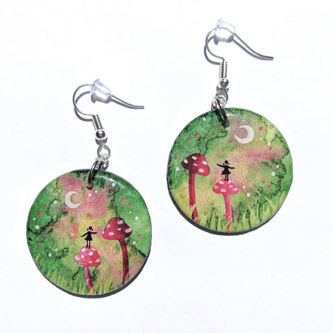 """Standing on a Mushroom"" Earrings PRINT"