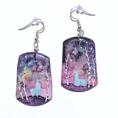"""Blue Alpacas"" Earrings PRINT"