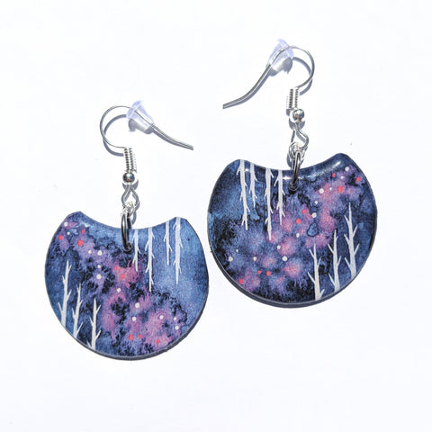 """Navy and Pink Birches"" Earrings PRINT"