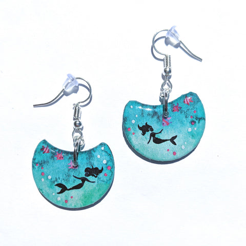 """Turquoise Mermaid"" Earrings PRINT"
