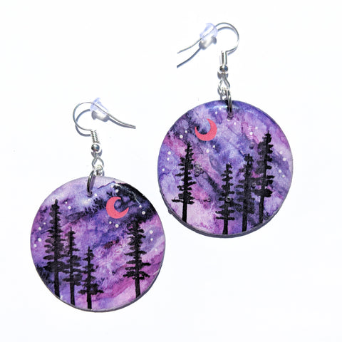"""Purple Pine Silhouettes"" Earrings PRINT"