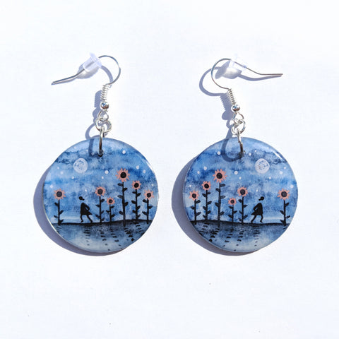 Walking through the Sunflowers Earrings PRINT