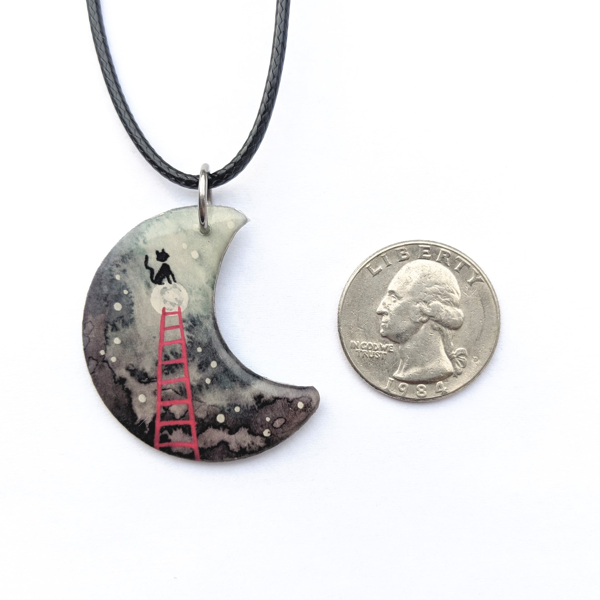 Kitty on the Moon Pendant PRINT