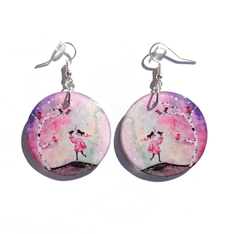 Honey with Cardinals Earrings PRINT