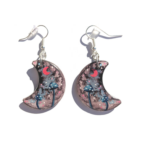 Blue Mushrooms Earrings PRINT