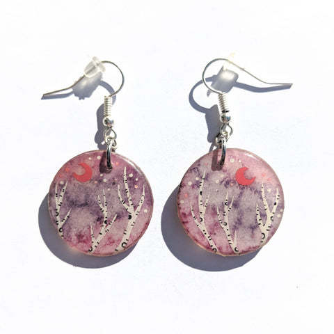 Red Crecent Birches Earrings PRINT