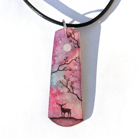 Deer in the mist Pendant PRINT