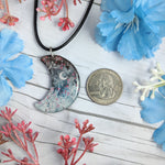 Birchy Blue Crescent Moon Pendant Print