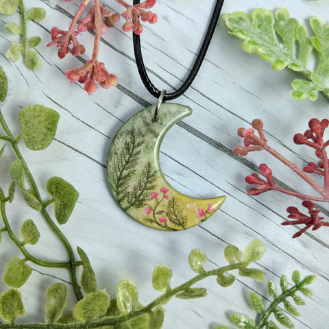 Ferns and Flowers Crescent Pendant Print