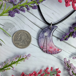 Ladder in the Flowers Crescent Pendant Print