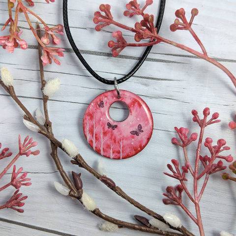 Pink Butterfly Pendant Print