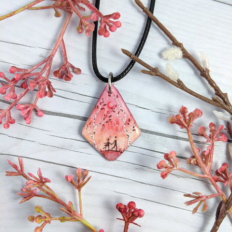 Together in the Birches Pendant Print