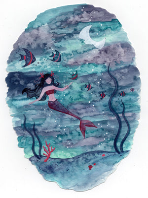 """Blue Mermaid"" Wall Art **PRINT**"