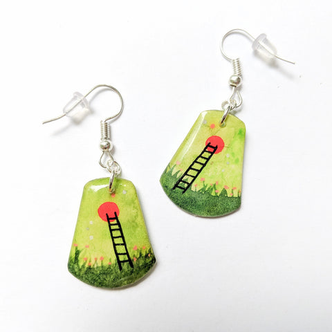 """Green Moon Ladder with Flowers"" Earrings ORIGINAL"