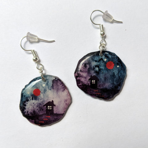 """Stormy Cabin Skies"" Earrings ORIGINAL"