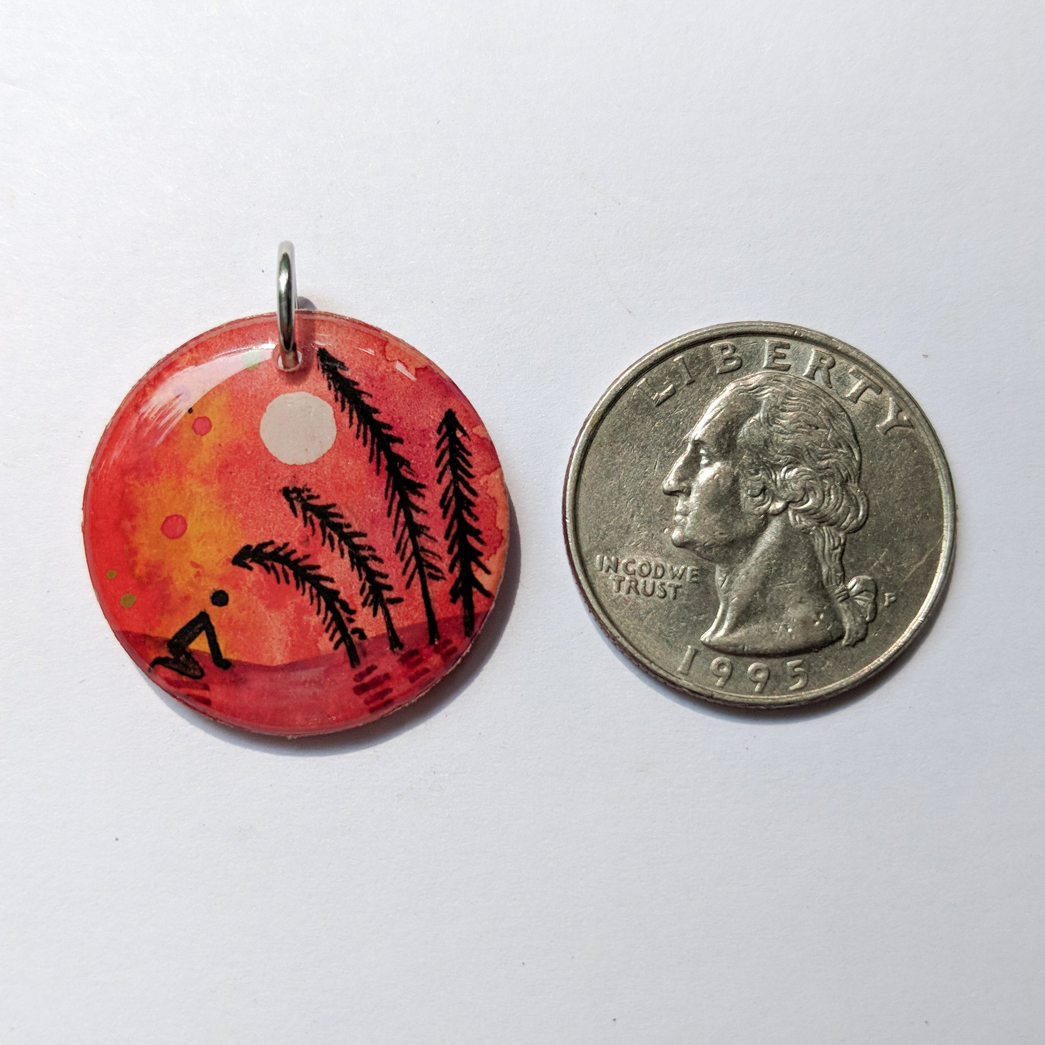 """Orange Bow to Pines"" Pendant ORIGINAL"