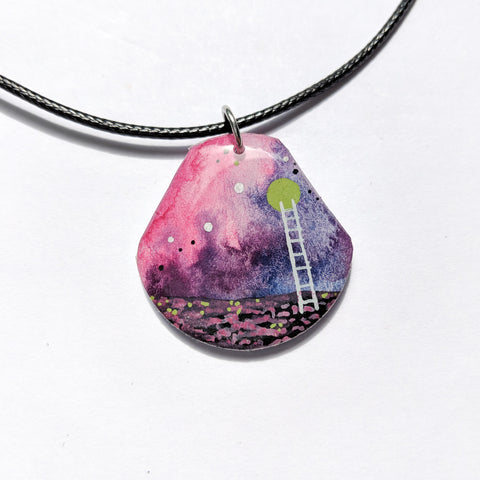 """Purple and Pink Ladder to the Moon"" Pendant ORIGINAL"
