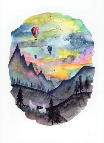 """Alpacas and Hot Air Balloons"" Wall Art **PRINT**"