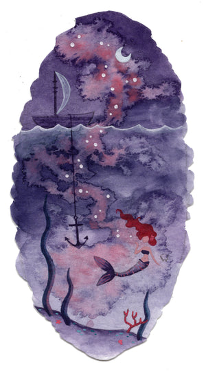 """Purple Mermaid"" Wall Art **PRINT**"