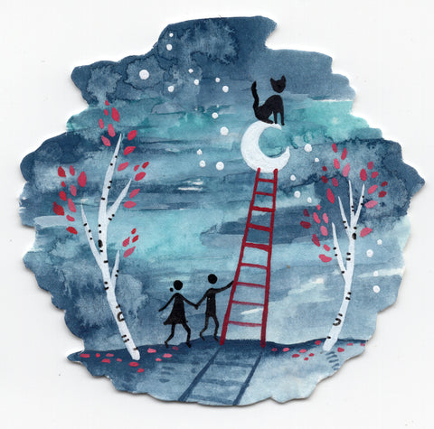 """Cat Ladder to the Moon"" Wall Art **PRINT**"