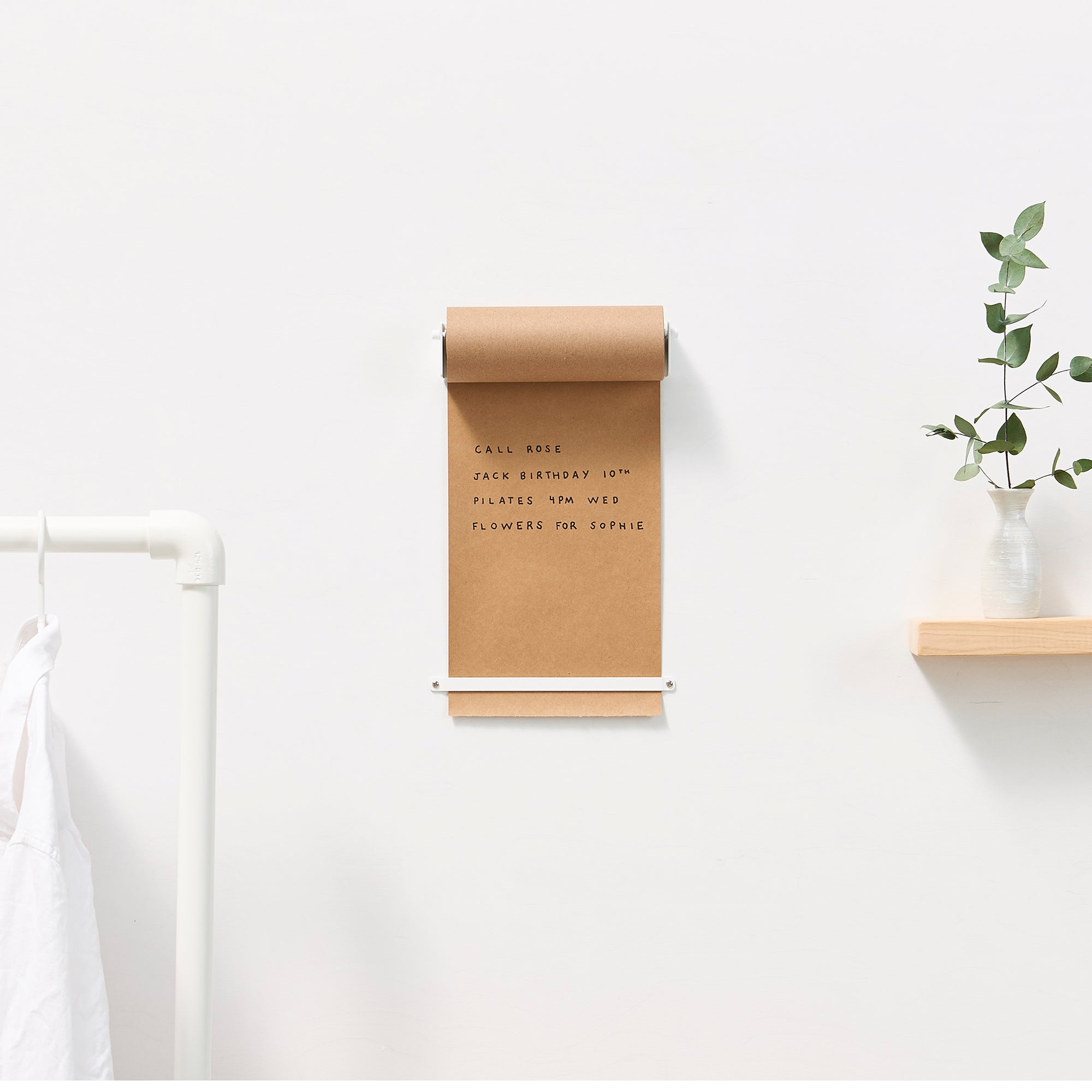 refillable kraft paper holder to install on wall of office or home