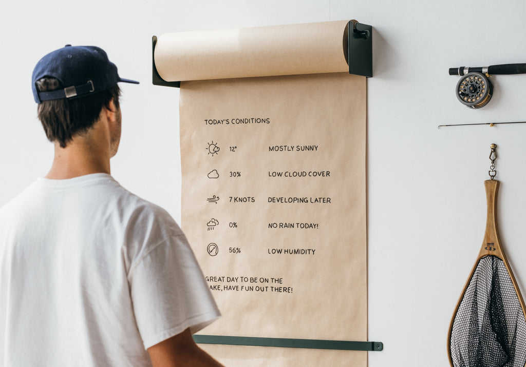 The Studio Roller wall-mounted kraft paper dispenser