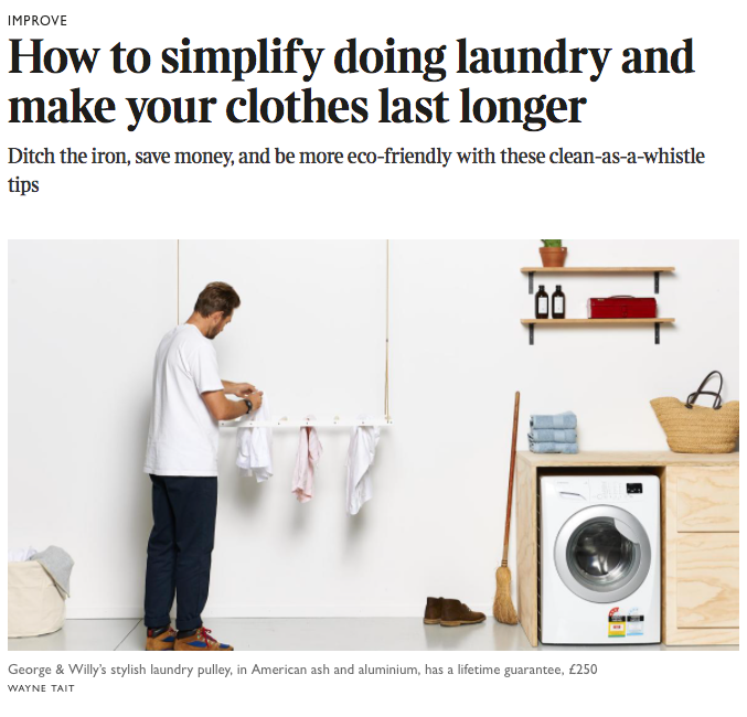 George and Willy in The Times UK - pulley maid, stylish clothes drying rack