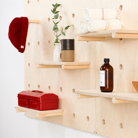 - wooden Pegboard - Pegboard with Wooden Pegs - Pegboard with Shelves