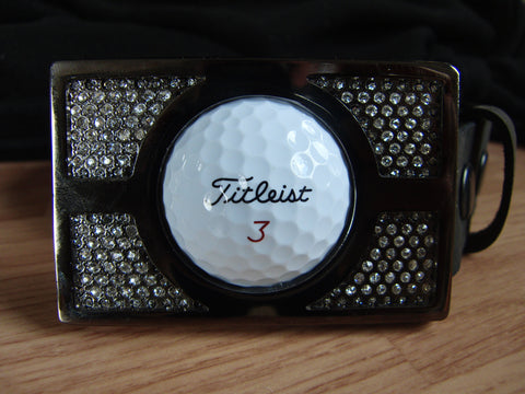 Golf Ball Buckle - Rhinestone Finish