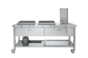 OUTDOOR KITCHEN UNIT 190 WITH 2 PLANCHAS AND A DEEP FRYER