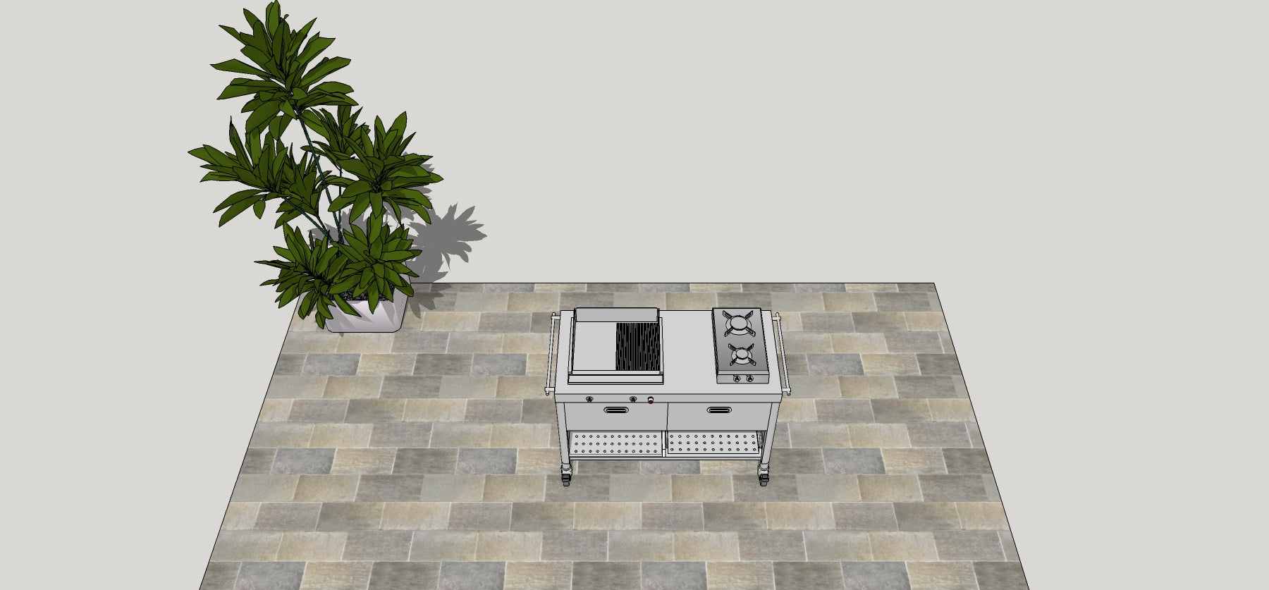 OUTDOOR KITCHEN UNIT 130 – PLANCHA AND GAS FLIP-UP HOB