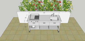 OUTDOOR KITCHEN UNIT 190 WITH PLANCHA AND BOWL