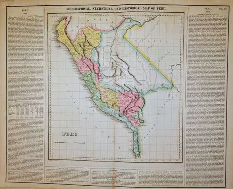 CAREY & LEA - GEOGRAPHICAL, STATISTICAL AND HISTORY MAP OF PERU, c.1822 BY CAREY & LEA.