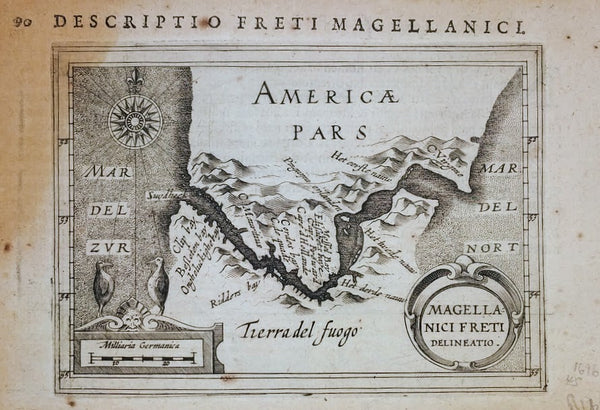 DESCRIPTION FRETI MAGELLANICI (MAP OF TIERRA DEL FUEGO) 1616