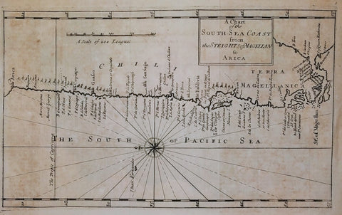 Herman Moll - A CHART OF THE SOUTH SEA COAST FROM THE STEIGHTS (STRAITS) OF MAGELLAN TO ARICA, 1729.