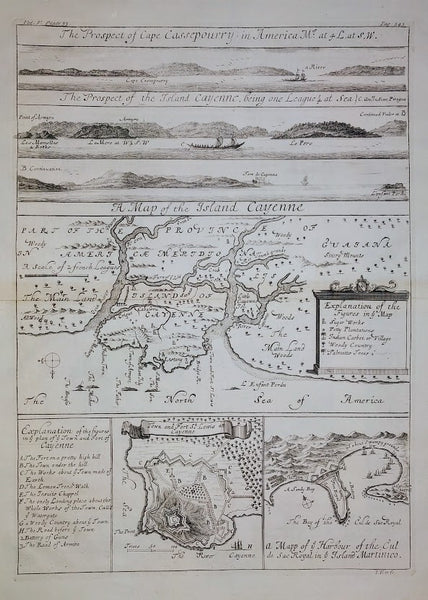 A Map of the Island Cayenne, 1732 by Johannes Kip