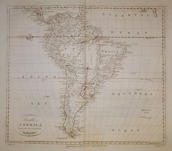 South America drawn from the latest and best Authorities by T Kitchin, 1787.