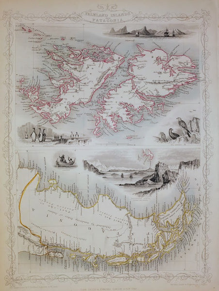 Falkland Islands And Patagonia by J Rapkin for John Tallis, 1851.