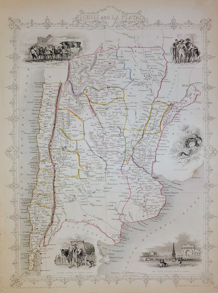 Chili (Chile) and La Plata by J Rapkin for John Tallis, 1851.