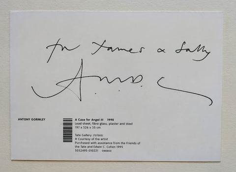 Antony Gormley - 'A CASE FOR ANGEL III' POSTCARD SIGNED TO THE VERSO BY ANTONY GORMLEY