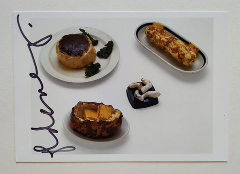 Claes Oldenburg - 'Filet Mignon Dinner' Postcard signed by the artist, Claes Oldenburg