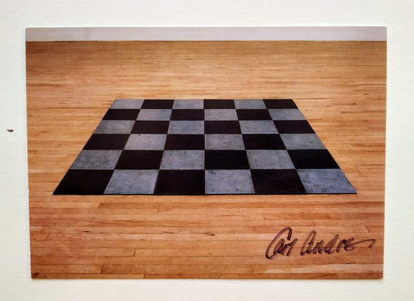 'Steel Zinc Plain' Postcard signed by the artist, Carl Andre