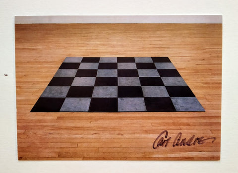 Carl Andre - 'Steel Zinc Plain' Postcard signed by the artist, Carl Andre