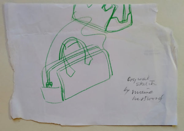 Vivienne Westwood: Two pieces of Ephemera: An unsigned original sketch of a handbag and a signed and inscribed Christmas Card