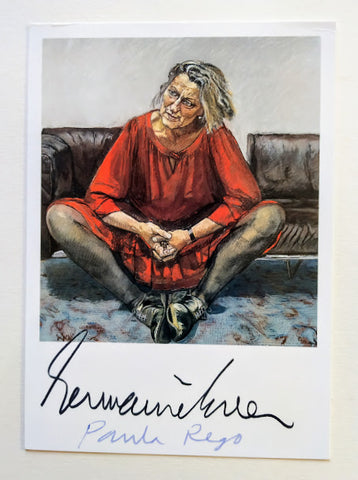 Paula Rego - POSTCARD OF A PORTRAIT OF GERMAINE GREER SIGNED BY PAULA REGO & GERMAINE GREER