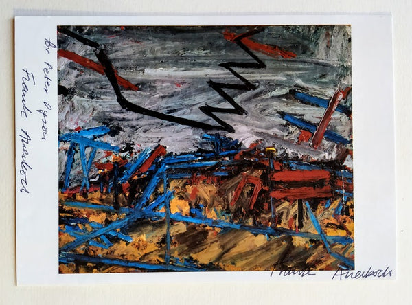 Postcard Signed By Frank Auerbach (Twice)