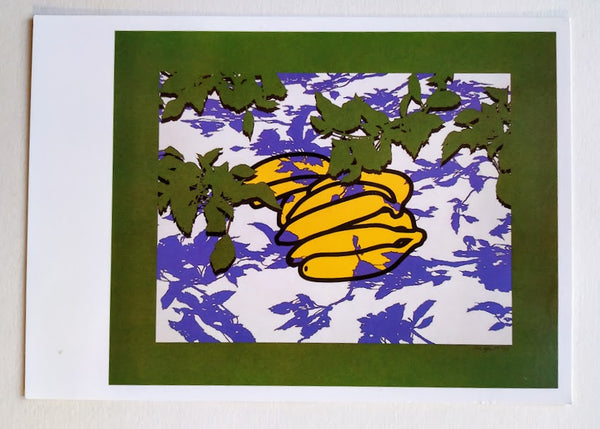 POSTCARD OF 'BANANAS AND LEAVES' SIGNED BY PATRICK CAULFIELD
