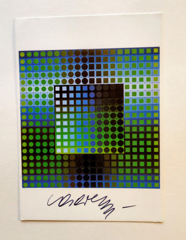 Victor Vasarely - POSTCARD SIGNED BY VICTOR VASARELY