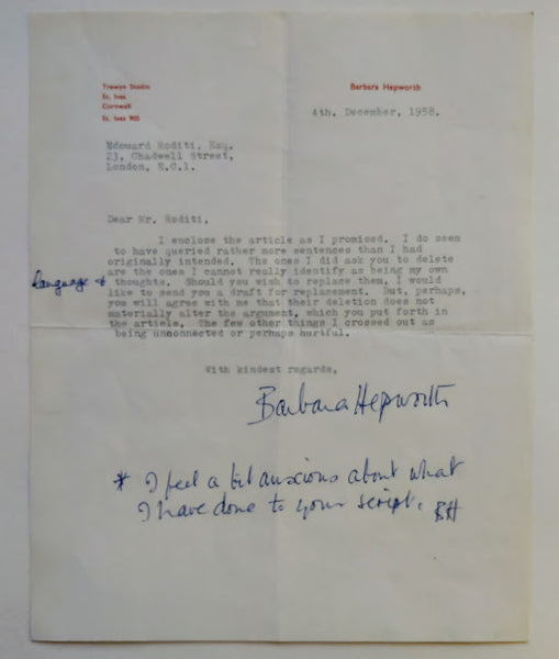 BARBARA HEPWORTH Typed Letter Signed TO EDOUARD RODITI